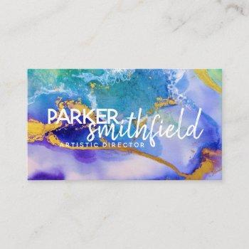 paint splatter gold and purple simple business card