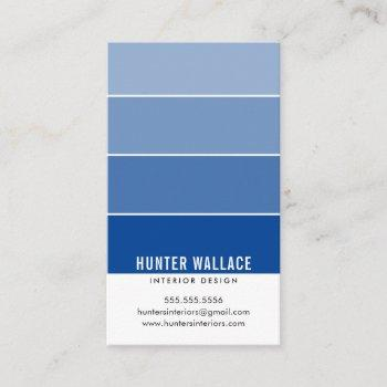 paint swatch chip modern design ombre royal blue business card