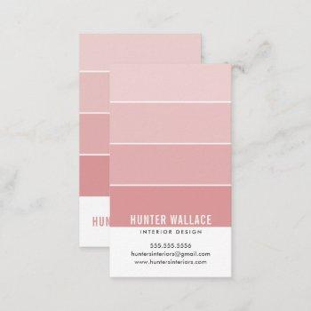paint swatch chip modern interiors ombre coral business card