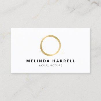 painted gold circle acupuncture, healer, wellness business card