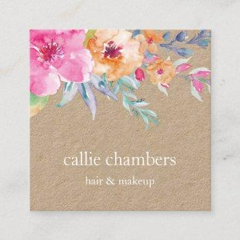 painted watercolor floral kraft square business card