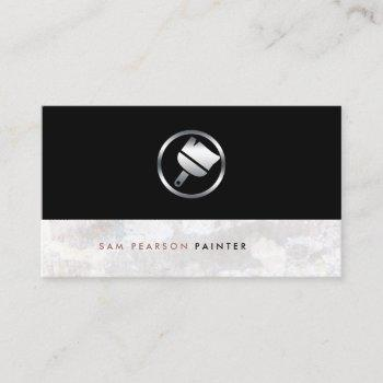 painter bold silver paint brush icon elegant business card
