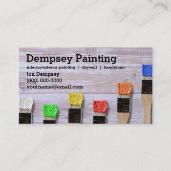 painter colorful paint brush business card