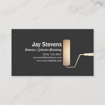 painter gold paint roller black business card