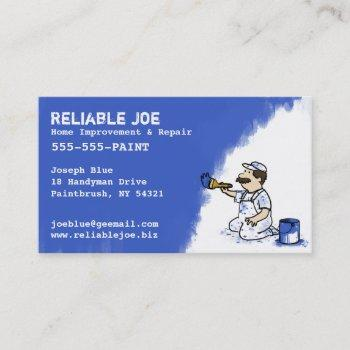 painter painting royal blue paint   fun contractor business card