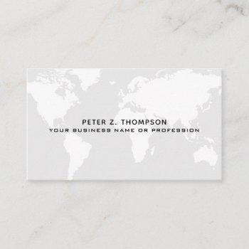 pale gray world map international professional business card
