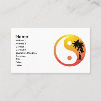 palm trees at sunset yin yang business card