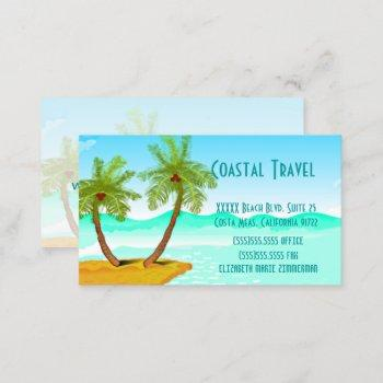 palm tree's beach template-change text business card