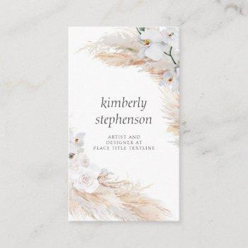 pampas grass and white orchids tropical foliage business card