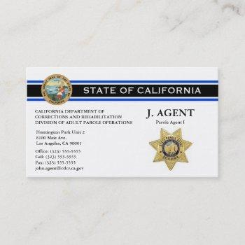 parole agent business card - thin blue line