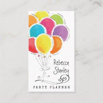 party planner watercolor balloons professional business card
