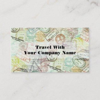 passport stamp travel print business card