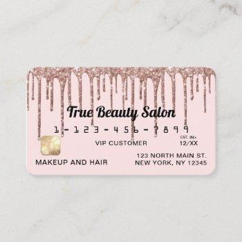 pastel blush pink rose gold glitter drips credit business card