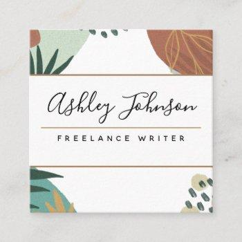 pastel brown pretty calligraphy tropical classy  square business card