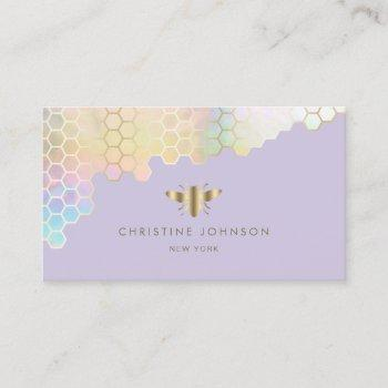 pastel colors honeycomb bee on lavender business card