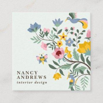 pastel green floral bouquet whimsical illustration square business card