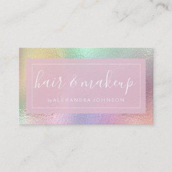 pastel iridescent foil business card