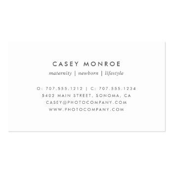 Small Pastel Lavender & Gray Watercolor Signature Script Business Card Back View