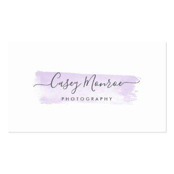 Small Pastel Lavender & Gray Watercolor Signature Script Business Card Front View