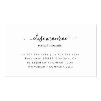 Small Pastel Lavender Purple Watercolor Lash Services Business Card Back View