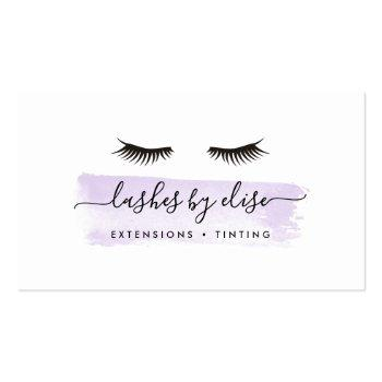 Small Pastel Lavender Purple Watercolor Lash Services Business Card Front View