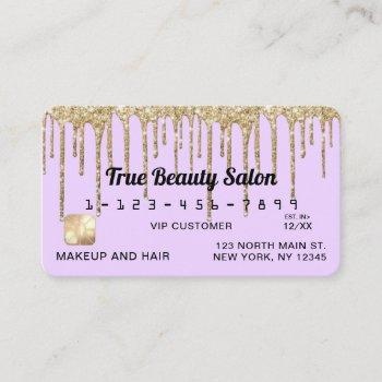 pastel lilac purple gold glitter drips credit business card