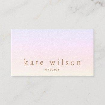 pastel ombre rainbow  leather professional business card