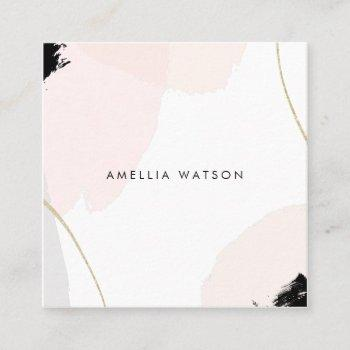 pastel pink, black & gray watercolor brush strokes square business card