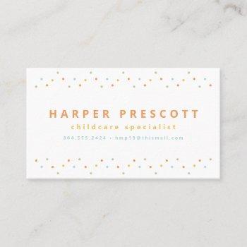 pastel polka dots childcare babysitter business card