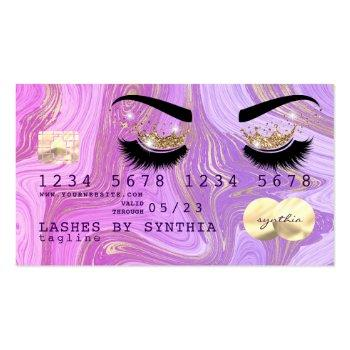 Small Pastel Purple Violet Marble Credit Card Lashes Front View