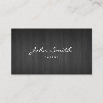 pastor minister classy dark wood church business card