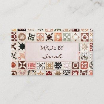 patchwork and quilting business card