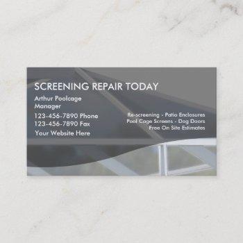 patio rescreening business cards