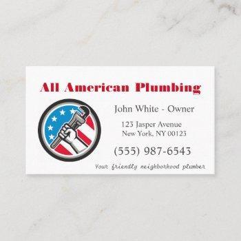 patriotic cartoon plumber man plumbing service business card