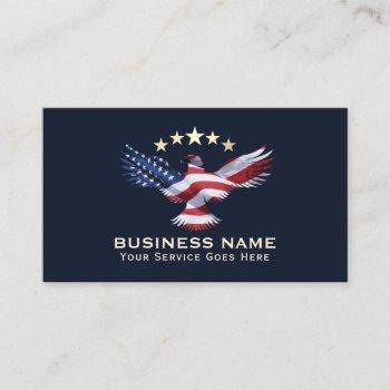 patriotic gold stars usa bald eagle military navy business card