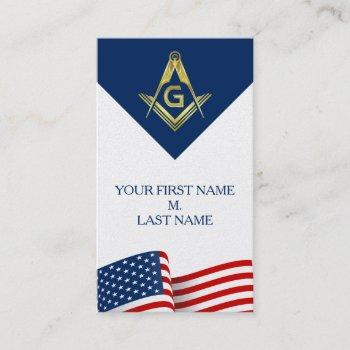 patriotic masonic business cards | flag freemason