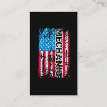 patriotic mechanic american flag craftsmen tools business card