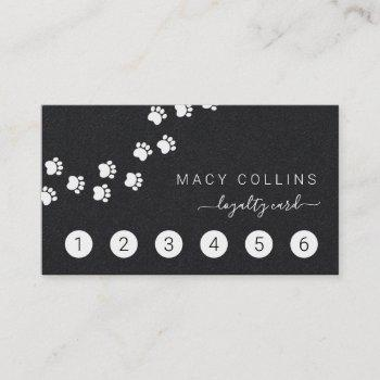 paw path white on black dog groomer loyalty card