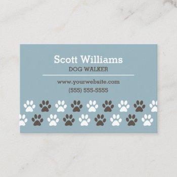 paw print dog walker template business card