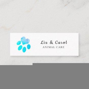 pawsitively blue  watercolor heart pets  paw print mini business card