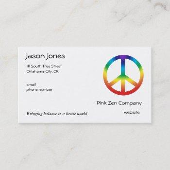 peace sign in chakra colors business card