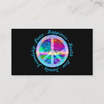 peace symbol in rainbow colors with tree of life business card