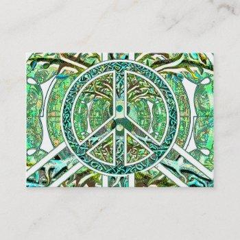 peace symbol, yin yang, tree of life in green business card