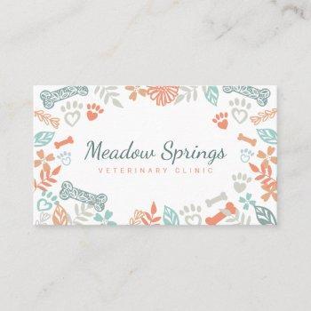 peach floral & foliage pet paw print pattern business card