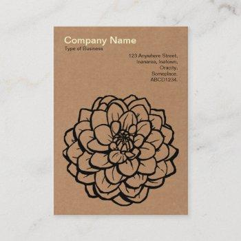 pen and ink dahlia - cardboard business card
