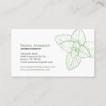 peppermint essential oil wellness business card
