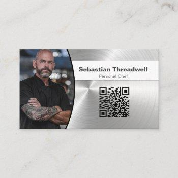 personal chef brushed steel custom photo qr code business card