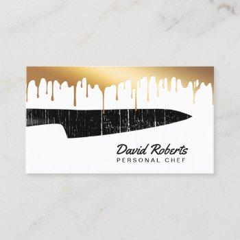 personal chef catering black knife chic gold drips business card