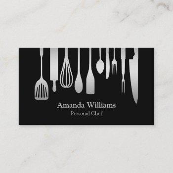 personal chef catering kitchen silver utensils business card