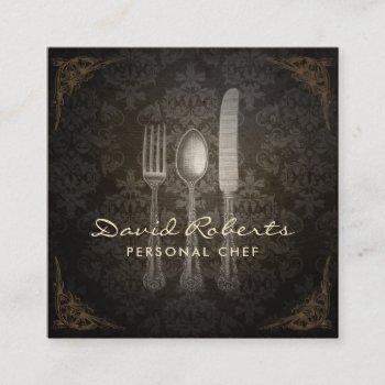 personal chef catering restaurant vintage damask square business card